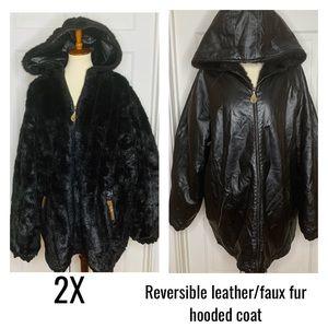 Vintage Reversible Faux furLeather Coat w/Hood